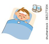 child in bed for a disease | Shutterstock .eps vector #382177354
