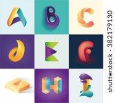 letters a b c d e f g h i set... | Shutterstock .eps vector #382179130
