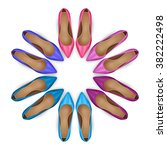 vector female shoes in circle... | Shutterstock .eps vector #382222498