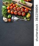 cherry tomatoes  herbs  pasta... | Shutterstock . vector #382258804