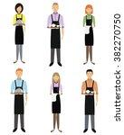 vector set of waiters  girls...   Shutterstock .eps vector #382270750