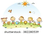 happy cartoon kids outdoors on... | Shutterstock .eps vector #382280539