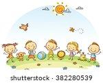 happy cartoon kids outdoors on... | Shutterstock .eps vector #382280539