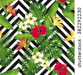 tropical exotic flowers and... | Shutterstock .eps vector #382292230