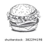 illustration of a burger ... | Shutterstock .eps vector #382294198