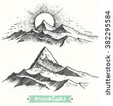 sketch of a mountains ... | Shutterstock .eps vector #382295584