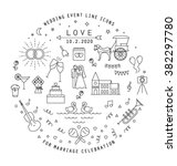 wedding line icons collection.... | Shutterstock .eps vector #382297780