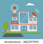 broadcasting building | Shutterstock .eps vector #382297993