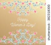 happy women day hand drawing...   Shutterstock .eps vector #382318300