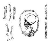 frame of bone skull | Shutterstock .eps vector #382320676
