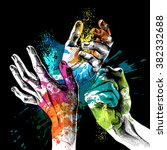 festival holi poster with a... | Shutterstock .eps vector #382332688