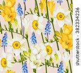 freesia  daffodil and muscari... | Shutterstock .eps vector #382334236