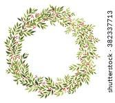 vector wreath with red berries... | Shutterstock .eps vector #382337713