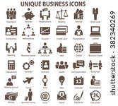 set of 36 unique business icons.... | Shutterstock . vector #382340269