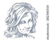 vector art drawing  portrait of ... | Shutterstock .eps vector #382340554