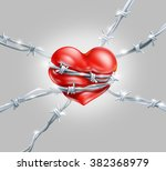 red heart wrap enclosed in... | Shutterstock . vector #382368979