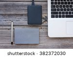 table top view of a laptop ... | Shutterstock . vector #382372030