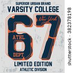 college vector label and print... | Shutterstock .eps vector #382378198