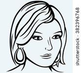 portrait of a beautiful girl.... | Shutterstock .eps vector #382396768