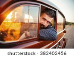 brutal bearded man with a... | Shutterstock . vector #382402456