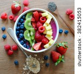healthy and colorful breakfast... | Shutterstock . vector #382415053