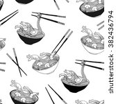 hand drawn ramen noodle waves... | Shutterstock .eps vector #382436794