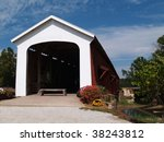 Red And White Covered Bridge In ...