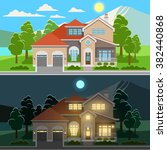 day and night house illustration