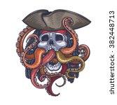 vector color skull pirate... | Shutterstock .eps vector #382448713