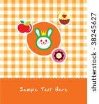 bunny sweet greeting in orange   Shutterstock .eps vector #38245627