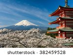 Mount Fuji With A Red Pagoda I...