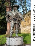 "Small photo of MAASTRICHT, NETHERLANDS - JANUARY 16, 2016: Statue of d'Artagnan. The famous musketeer, in the time of Louis XIV of France described in the novel by Alexandre Dumas ""The Three Musketeers"""