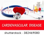 Small photo of The diagnosis of cardiovascular disease. Phonendoscope and vaccine with drugs. Medical concept.