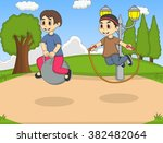 boy playing bouncing ball in... | Shutterstock . vector #382482064