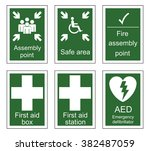 First Aid And Assembly Sign Se...