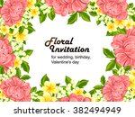 invitation with floral... | Shutterstock .eps vector #382494949