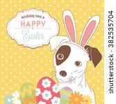 easter beagle cute little dog... | Shutterstock .eps vector #382535704
