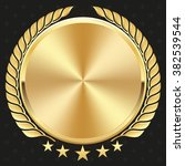 glossy gold badge on black... | Shutterstock .eps vector #382539544