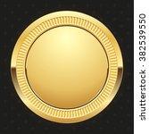 glossy gold badge on black... | Shutterstock .eps vector #382539550