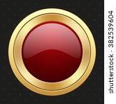 glossy gold badge on black... | Shutterstock .eps vector #382539604