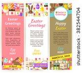 happy easter vertical flyer set.... | Shutterstock .eps vector #382544704