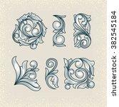 vintage floral design elements | Shutterstock .eps vector #382545184