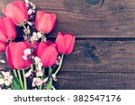 Bouquet Of Red Tulips And...