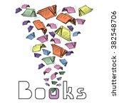 vector sketch books flying... | Shutterstock .eps vector #382548706