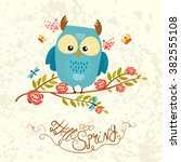 cute  spring owl sitting on a...   Shutterstock .eps vector #382555108