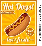 hot dog poster | Shutterstock .eps vector #382568350