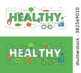 healthy lettering flat line... | Shutterstock .eps vector #382569010