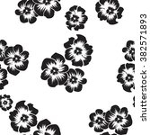 black and white floral seamless ... | Shutterstock .eps vector #382571893