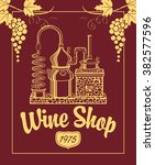 sign for the wine shop with a... | Shutterstock .eps vector #382577596