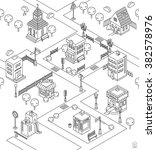 seamless pattern with isometric ... | Shutterstock .eps vector #382578976